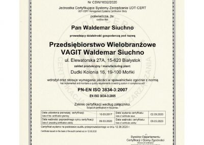 certyfikat spawalnicze 2020